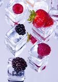Small fruits among ice cubes Royalty Free Stock Photos