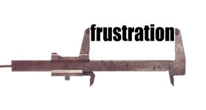 Small frustration. Color horizontal shot of a caliper and measuring the word frustration Stock Image