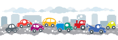 Small funny cars on the urban city road background Royalty Free Stock Photography