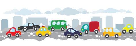 Small funny cars on the urban city road background. Children vector illustration of small funny cars on the urban polluted city or gassy street road. Horizontal Stock Image