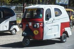 Funny moped taxi in Cusco Peru stock photo