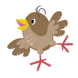 Small funny sparrow. Children vector illustration of small funny jumping sparrow with shot wings and yellow bill Royalty Free Stock Photo