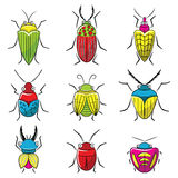 Small funny vector bugs icon set. Royalty Free Stock Photo
