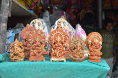 Small Ganesha Clay Statues Royalty Free Stock Images