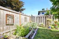 Small garden bed on backyad Stock Photo