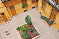 Small garden in old style europe apartment seen from terrace Stock Photography