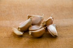 Small garlic cloves on the table royalty free stock images
