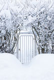 Small gate in hedgerow at winter Stock Photography