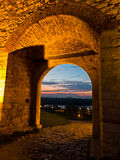 Small gate in Kalemegdan fortress walls at twilight, Belgrade Royalty Free Stock Images