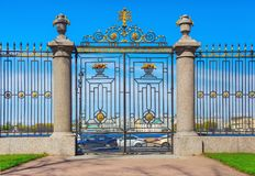 The small gate of the Summer garden in Saint Petersburg, view from the garden to the Neva embankment stock image