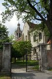 Small gate and tower of St. Michael church, Sopron Royalty Free Stock Photography