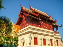 Thai Temple in Chiang Mai Golden Pagoda Stock Photography