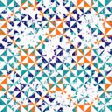 Small geometric abstract mosaic pattern. With triangles and simple shapes in vintage colors for fall winter fashion. Abstract dynamic retro tiles background Royalty Free Stock Photos