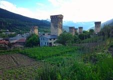 Small Georgian village in the Caucasus Mountains. Georgian village in the Caucasus Mountains stock image