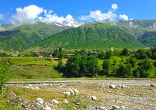 Small Georgian village in the Caucasus Mountains. Georgian village in the Caucasus Mountains stock photography