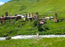 Small Georgian village in the Caucasus Mountains. Georgian village in the Caucasus Mountains royalty free stock photography