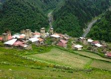 Small Georgian village in the Caucasus Mountains. Georgian village in the Caucasus Mountains stock images
