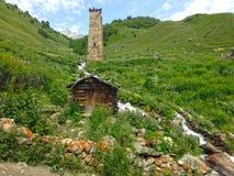 Small Georgian village in the Caucasus Mountains. Georgian village in the Caucasus Mountains royalty free stock photo