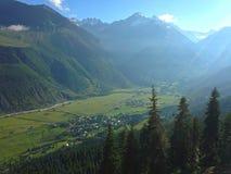 Small Georgian village in the Caucasus Mountains. Georgian village in the Caucasus Mountains royalty free stock photos