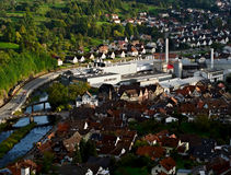 Small German City in a Valley. City of Gernsbach photographed from the Castle Eberstein stock image