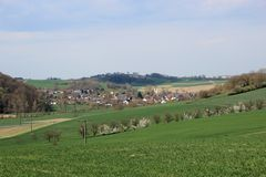 Small German Village. Open country side of Baden-Wurtembergy with small village in the distance Stock Photos
