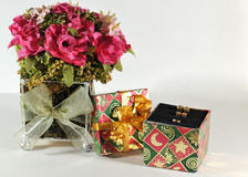 Small gift box with earrings Stock Image