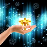 Small gift box in female hands on a winter background Stock Photos