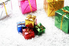 The small gift box group on snow for decoration christmas Royalty Free Stock Images
