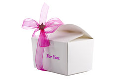 Small gift box with pink bow isolated Royalty Free Stock Images