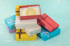 Small gift box set on sack cloth. Background,vintage tone Stock Photo