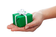 Small gift box in woman hand Royalty Free Stock Image