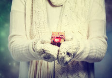 Small gift box in womans hands Stock Photo