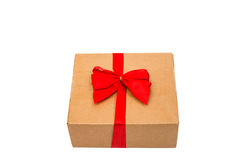 small gift box wraped in recycled paper Royalty Free Stock Image