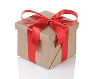 Small gift box wraped in recycled paper with Royalty Free Stock Images