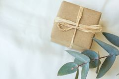 Small Gift Box Wrapped in Brown Craft Paper Tied with Twine Silver Dollar Eucalyptus Branch on White Linen Fabric Valentine Royalty Free Stock Photography