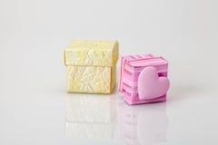 Small gift boxes on white Stock Photo