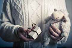 Small gift with toy Royalty Free Stock Images