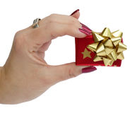Small gift in women hand Stock Photo