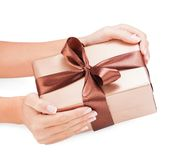 Small gift in women hands Royalty Free Stock Photo