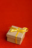 Small gift with yellow bow Royalty Free Stock Images