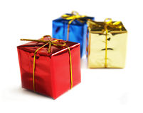 Small gifts. Small gift boxes on a white background Royalty Free Stock Photography