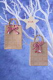 Small gifts hanging from white tree branch. Stock Photo