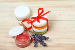 Small gifts with homemade herbal  medicine and copy space around Royalty Free Stock Photos