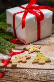 Small gingerbread cookies for Christmas gift Stock Images