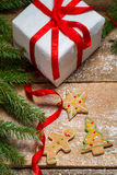 Small gingerbread cookies for Christmas gift Stock Photos