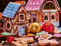 Small gingerbread house closeup. Royalty Free Stock Images