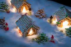 Small gingerbread village built from sweetness Royalty Free Stock Photos