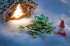 Small gingerbread village built from sweetness Royalty Free Stock Image