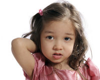 Small girl. 3 years, with bewildered miserable facial expression Stock Photos