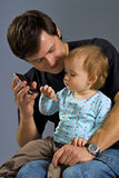 Small girl. With the cell phone Royalty Free Stock Photo